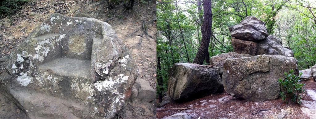 Le fauteuil du Diable et la roche tremblante à Rennes-les-Bains